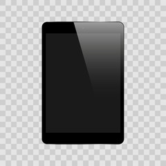 Realistic black tablet isolated on background vector illustration
