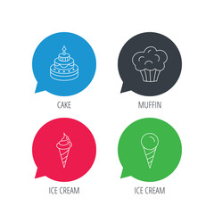Colored speech bubbles. Cake, ice cream and muffin icons. Sweets linear sign. Flat web buttons with linear icons. Vector