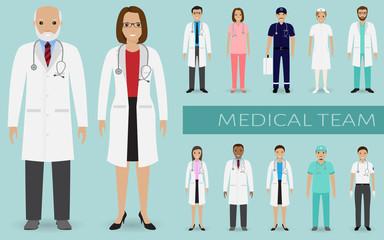Medical team. Group of doctors, nurses and other hospital staff standing together. Medicine teamwork concept.