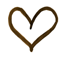 The outline of the dark sepia heart drawn with paint on white background