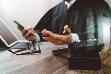 justice and law concept.Male judge in a courtroom with the gavel