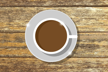 icon cup coffee on wooden background,top view