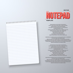 Illustration of Realistic Vector Notepad Office Equipment. White Paper Notepad