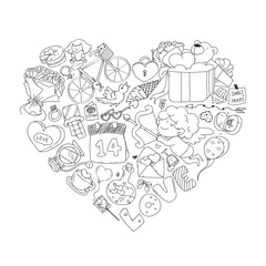 Valentine icon set, freehand drawing illustration