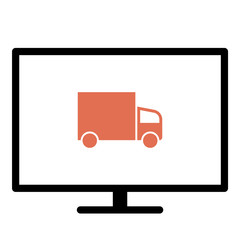 Truck icon - Flat design, glyph style icon - Colored enclosed in a screen