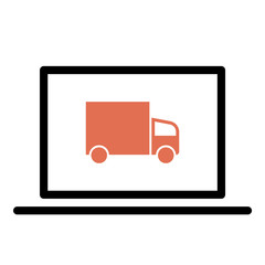 Truck icon - Flat design, glyph style icon - Colored enclosed in a computer