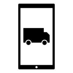 Truck icon - Flat design, glyph style icon - Colored enclosed in a phone