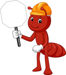 Mascot Ant Hard Hat Sign