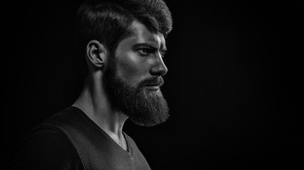 Black and white image of confidence attractive hipster