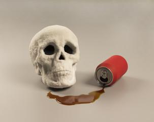 Representación metafórica de los graves problemas de salud que ocasiona el azúcar presente en alimentos como los refrescos en el organismo.