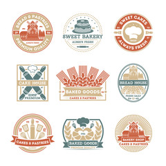 Bakery shop vintage isolated label set