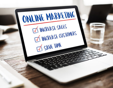 Online Marketin Aims Plan Strategy Concept