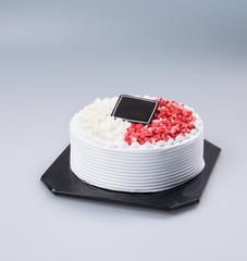 cake or birthday ice cream cake on background.