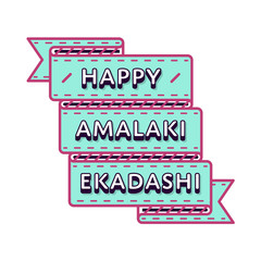 Happy Amalaki Ekadashi emblem isolated vector illustration on white background. 8 march indian religious holiday event label, greeting card decoration graphic element