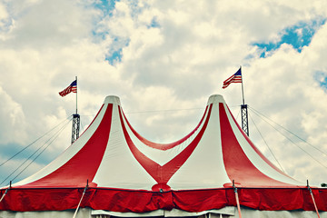 Vintage circus tent. Instagram effect.