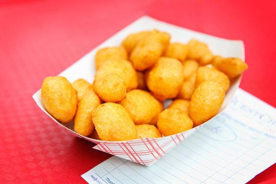 Golden fried cheese curds