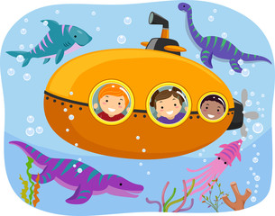 Stickman Kids Dinosaur Submarine