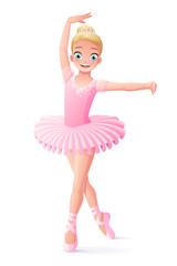 Vector cute smiling young dancing ballerina girl in pink tutu.