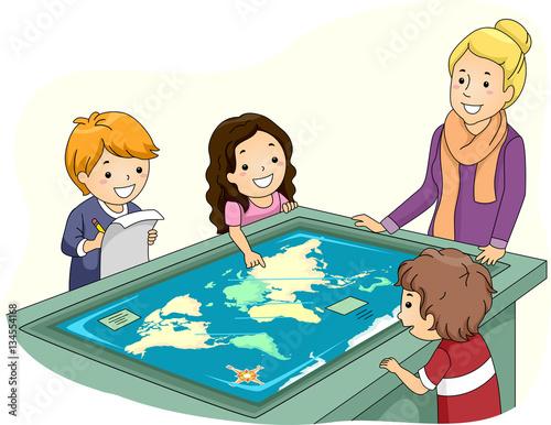 Kids Teacher Interactive Surface Table Map