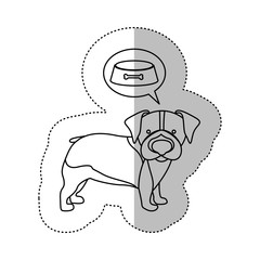 monochrome contour middle shadow sticker with with beagle dog thinkin food vector illustration