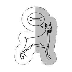 monochrome contour middle shadow sticker with doberman pinscher dog thinkin bone vector illustration