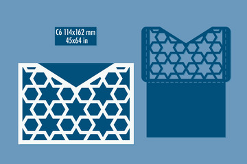 Template - envelope for laser cut with islamic pattern. DIY laser cutting envelope. Wedding invitation envelope for cutting machine or laser cutting. Suitable for greeting cards, invitations, menus