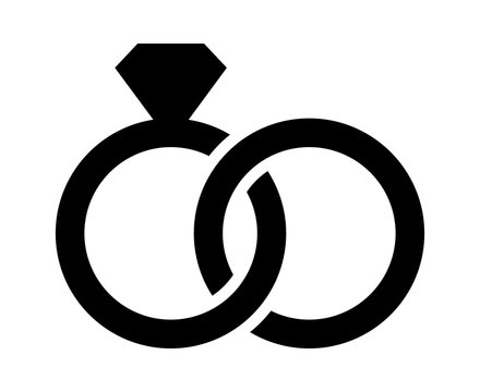 Wedding rings with diamond linked together in the symbol of marriage flat vector icon for apps and websites