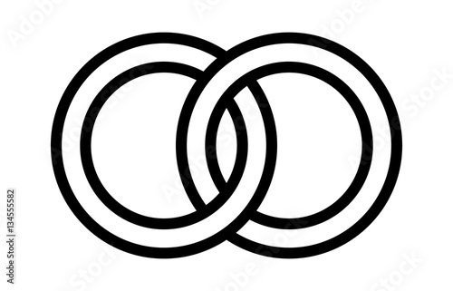 Wedding Rings Linked Together In The Symbol Of Marriage Line Art