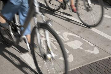 Bike Symbol and Cyclist, Den Haag - the Hague; Holland