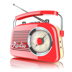 Red retro radio receiver