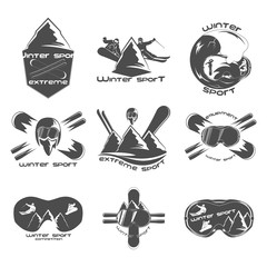 Set winter sport logo design template elements