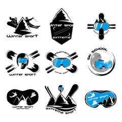 Set winter sport logo design template elements