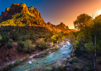 Ingelijste posters Natuur Park Zion National Park Virgin River at Sunset