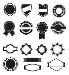 Big set of vector black silhouette frames or shapes for logo badges. Template emblem isolated on the white background.