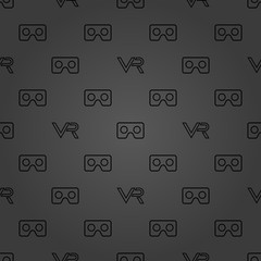Seamless vector dark pattern with VR logos. Virtual reality logos