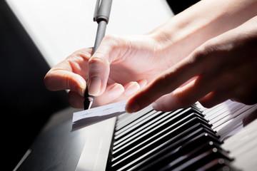 Playing Piano. close up