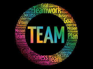 TEAM circle word cloud, business concept