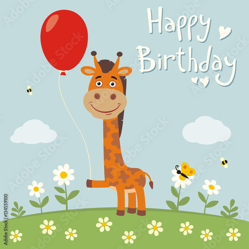 Happy Birthday Funny Giraffe With Red Balloon On Flower Meadow
