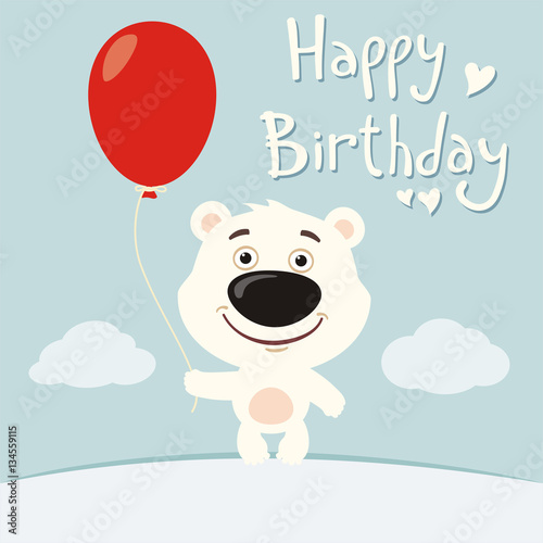 Happy Birthday Funny Polar Bear With Red Balloon On Flower Meadow