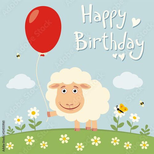 Happy Birthday Funny Sheep With Red Balloon On Flower Meadow