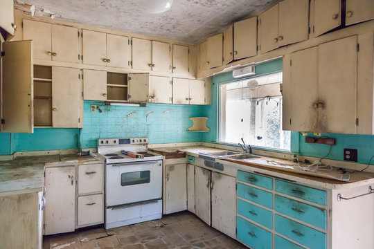 abandoned blue and white kitchen dirty creepy and scary