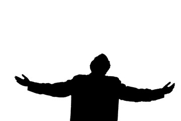 Man silhouette feeling freedom isolated on white background
