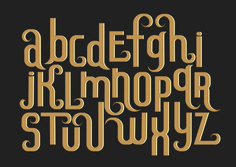 Vector alphabet set. Lowercase 3d letters with decorative flourishes and fine texture in the Art Nouveau style. Beige letters on black background.