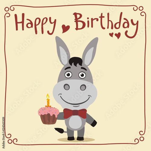 Happy birthday Funny donkey with birthday cake Greeting card – Donkey Birthday Card
