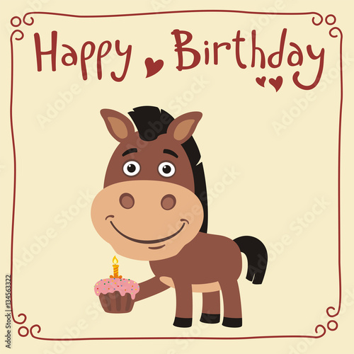 Happy Birthday Funny Horse With Cake Greeting Card In Cartoon Style