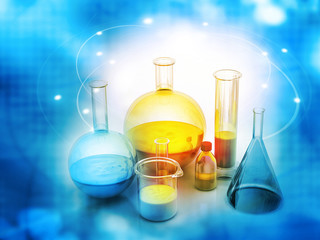 Chemical laboratory glassware on abstract blue background.