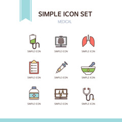 medical simple icon set