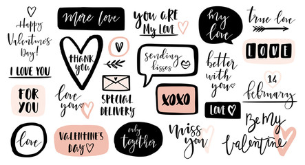 Valentines day calligraphic phrases. Hand drawn design elements. Modern romantic lettering. Good for photo overlays.