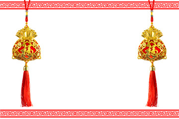 Gold Bag for happy good luck and to be rich in Chinese new year space for text / Selective focus and clipping path