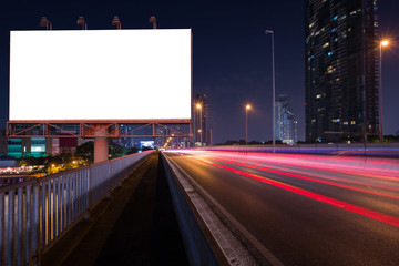 night city street and blank billboard